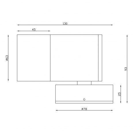 Aluminium Black Exterior Fixed Down Dimensions - EXTFDBLK