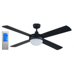 Genesis 52'' Black Fan 2xE27 Light + WH Touch Pad Remote - GEN52BLKL - TWHRem