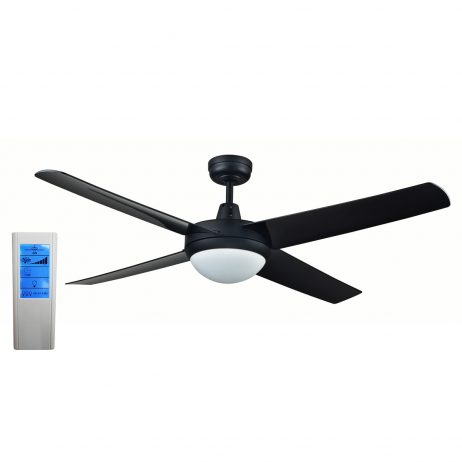 Genesis 52'' Black Ceiling Fan with ABS Blades with Light + WH Touch Pad Remote - GEN52BLKL2 - TWHRem
