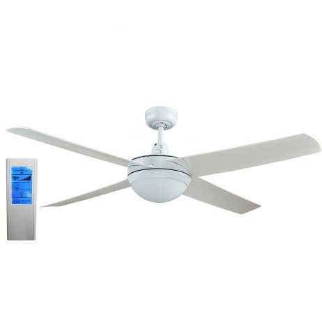 Genesis 52'' White Ceiling Fan with ABS Blades with Light + WH Touch Pad Remote - GEN52WL2 - TWLRem