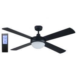 Genesis 52'' Black Fan 2xE27 Light + BL Touch Pad Remote - GEN52BLKL - TBLRem