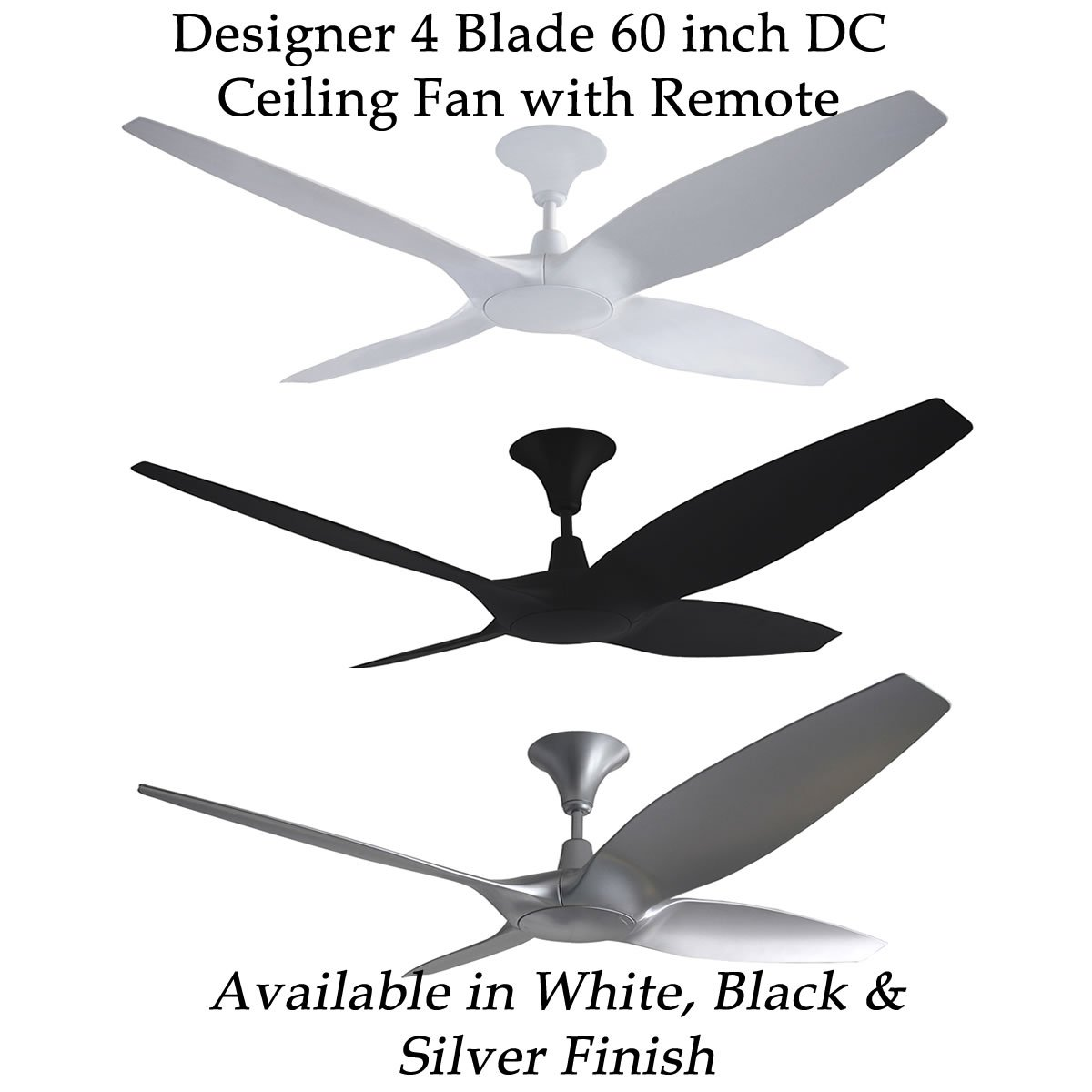 Designer 4 Blade 60 inch DC Ceiling Fan with Remote | Feature Lights